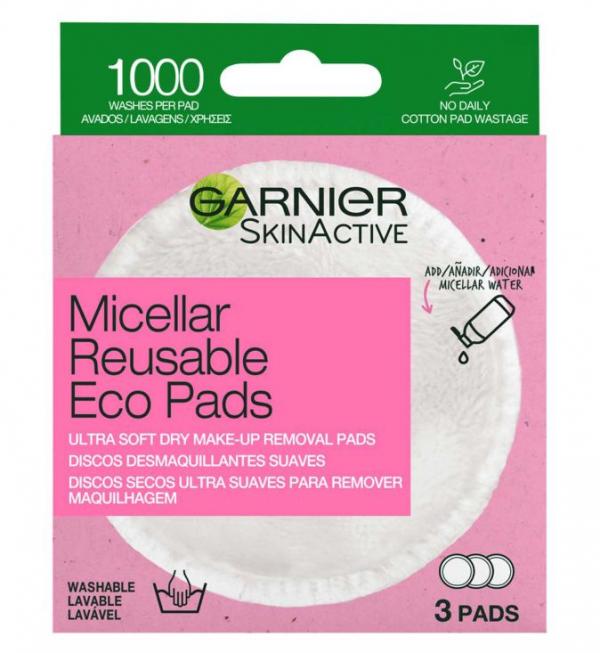 Garnier Micellar Reusable Make-up Remover Eco Pads, 3 Micro Fibre Pads