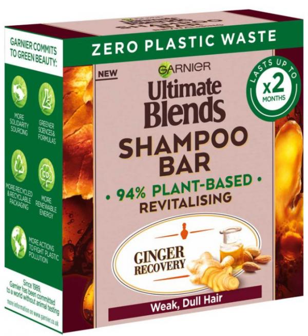 Garnier Ultimate Blends Ginger Recovery Revitalising Shampoo Bar for Weak, Dull Hair 60g